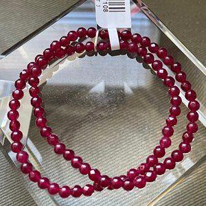 NICKY BUTLER Berry Quartzite 2 Strand SS Bracelet